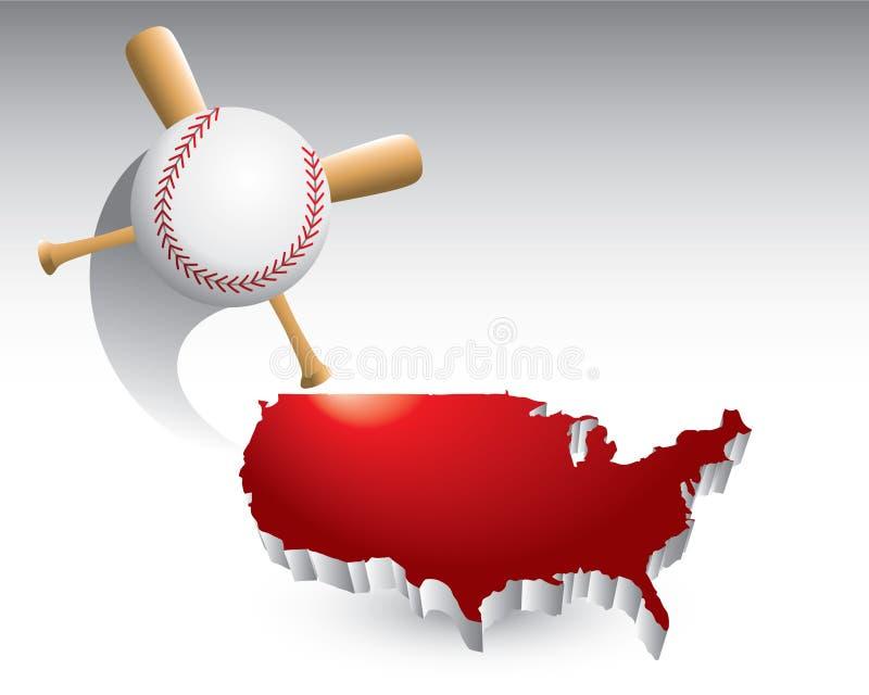 Baseball und gekreuzte Hiebe auf Staat-Ikone lizenzfreie abbildung