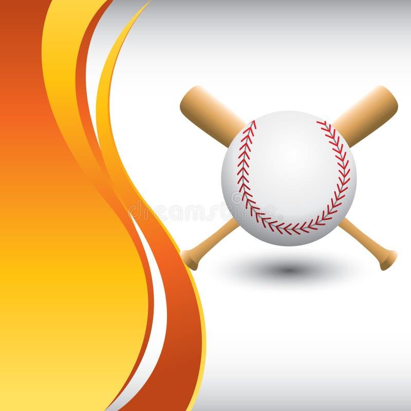 Baseball und Hiebe auf vertikalem orange Wellenhintergrund stock abbildung