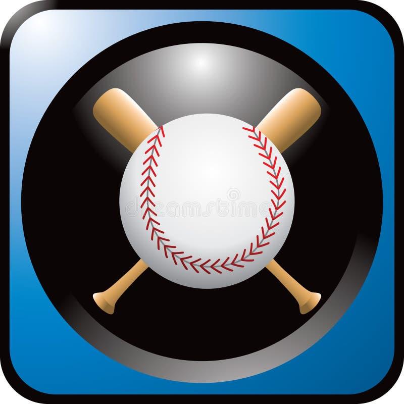 Baseball und Hiebe in der blauen Web-Taste stock abbildung