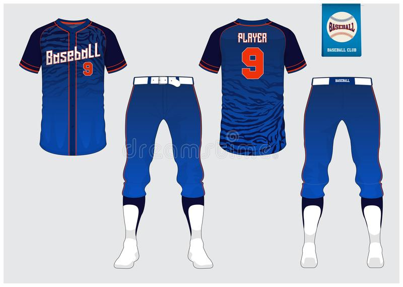Baseball uniform, sport jersey, t-shirt sport, short, sock template. Baseball t-shirt mock up. Front and back view sport uniform. Flat baseball logo on blue vector illustration