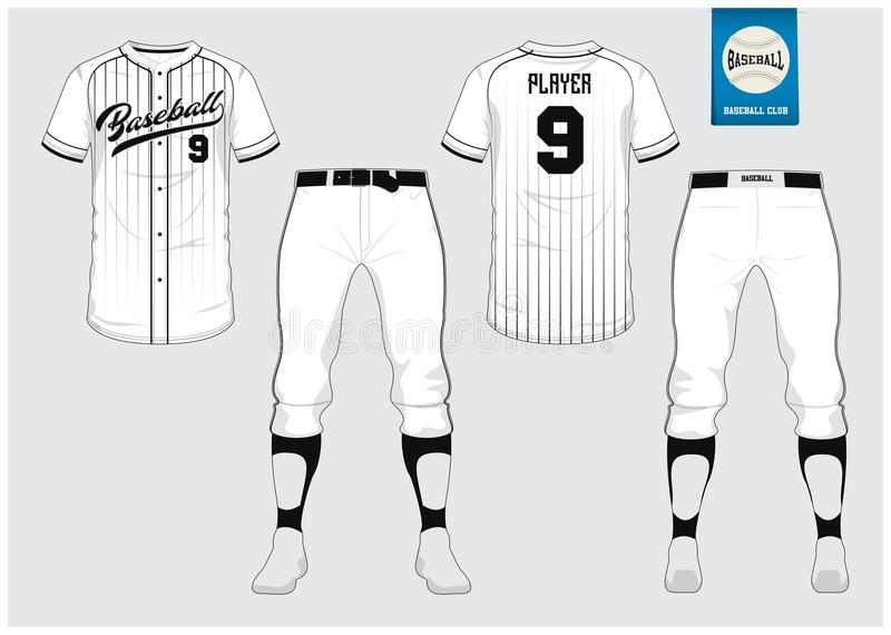 Baseball uniform, sport jersey, t-shirt sport, short, sock template. Baseball t-shirt mock up. Front and back view sport uniform. Baseball jersey, sport uniform stock illustration