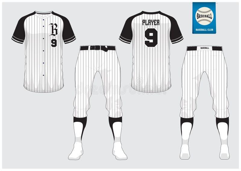 Baseball uniform, sport jersey, t-shirt sport, short, sock template. Baseball t-shirt mock up. Front and back view sport uniform. Flat baseball logo on blue stock illustration
