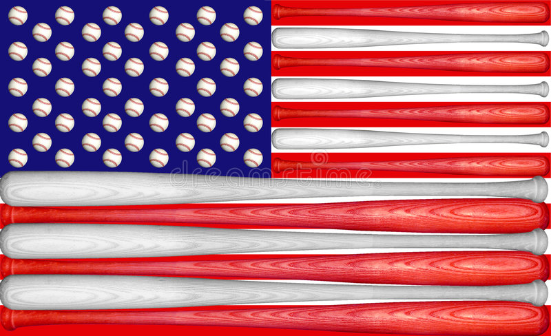 Baseball US Flag. US Flag made with baseball bats and balls stock image