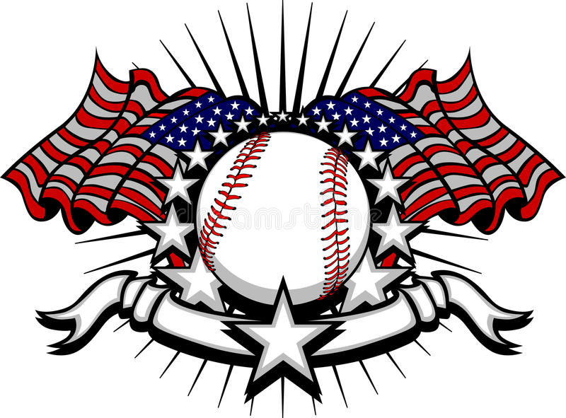 Baseball Vector Template with Flags and Stars royalty free illustration
