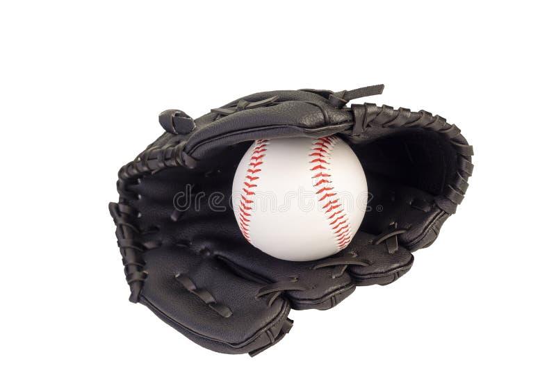 Baseball w rękawiczce na białym tle Ścinek ścieżka obraz stock