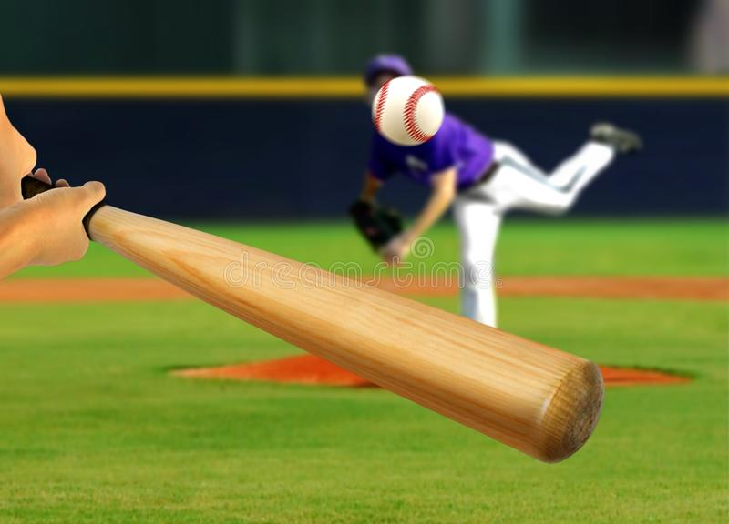 Baseball-Werfer-werfender Ball zum Schagmann stockbilder