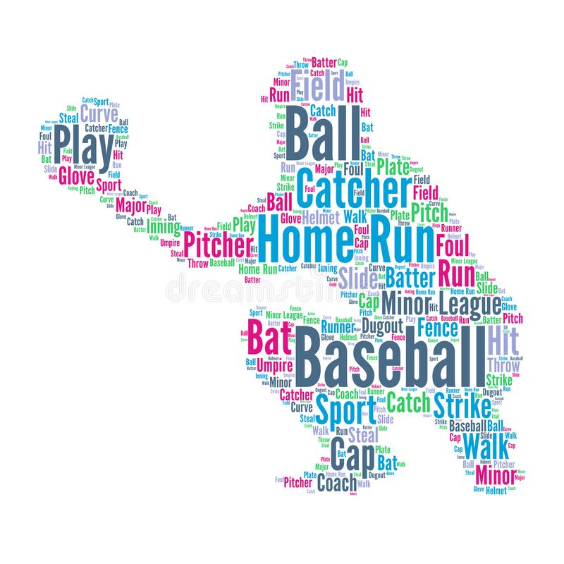 Baseball - Word cloud illustration with baseball player royalty free illustration