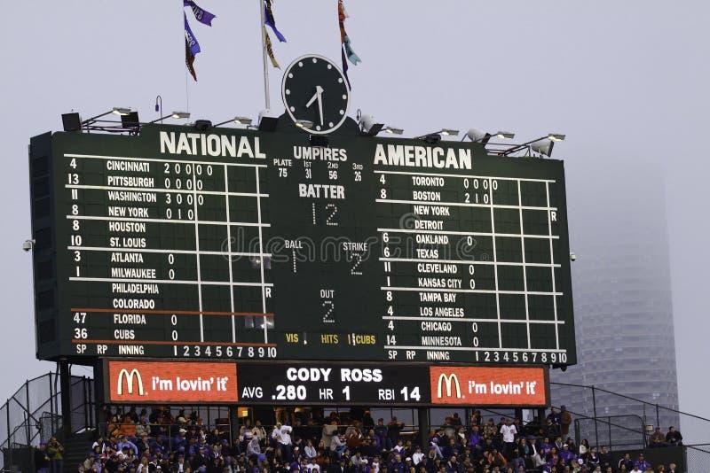 Baseball - Wrigley fälts berömda funktionskort royaltyfria bilder