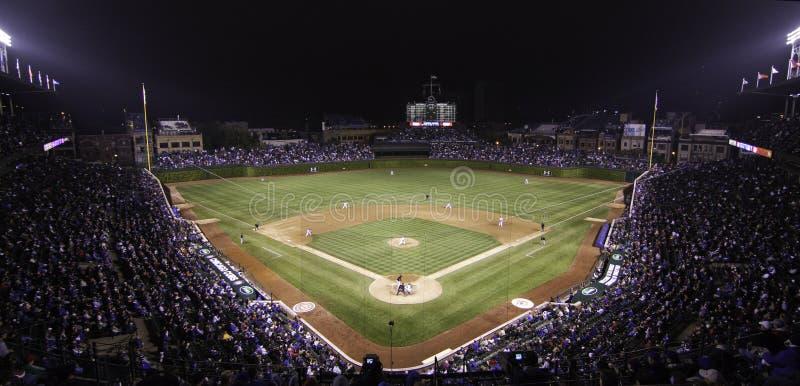 Baseball - Wrigley Field Pano at Night royalty free stock photography