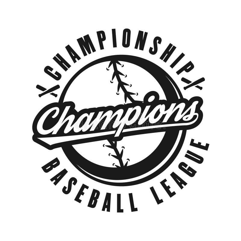 Baseball wstawia się wektorowego monochromatycznego retro emblemat ilustracja wektor