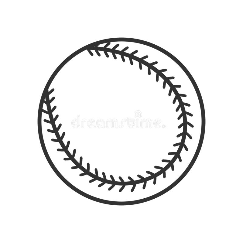Baseballa Balowego konturu Płaska ikona na bielu royalty ilustracja