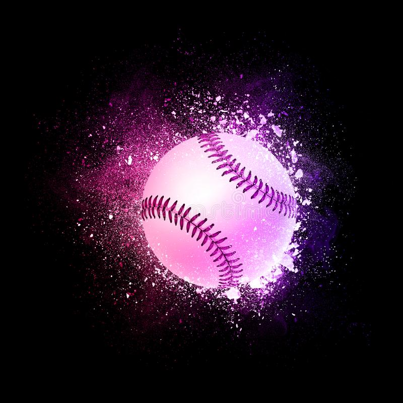 Baseballa Balowy latanie w fiołkowych cząsteczkach ilustracji