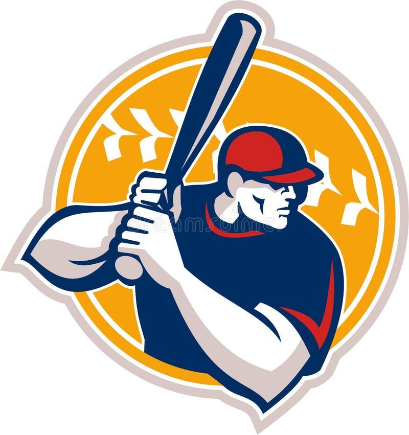 Baseballa ciasta naleśnikowego uderzającego uderzenia kijem strona Retro ilustracja wektor