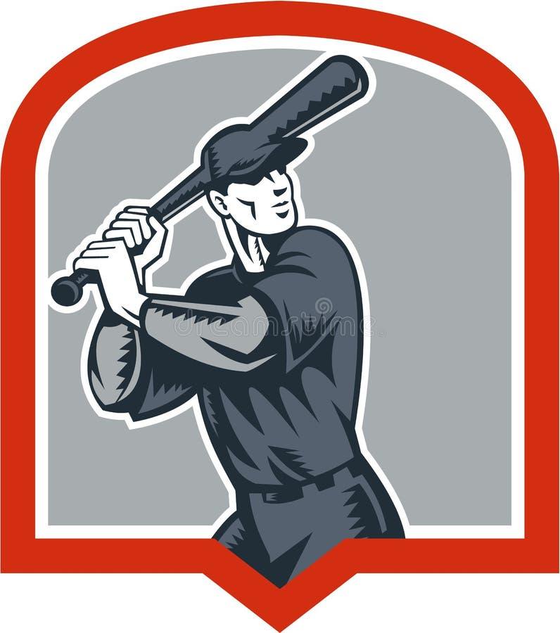 Baseballa ciasta naleśnikowego uderzenia kijem Woodcut osłona ilustracji