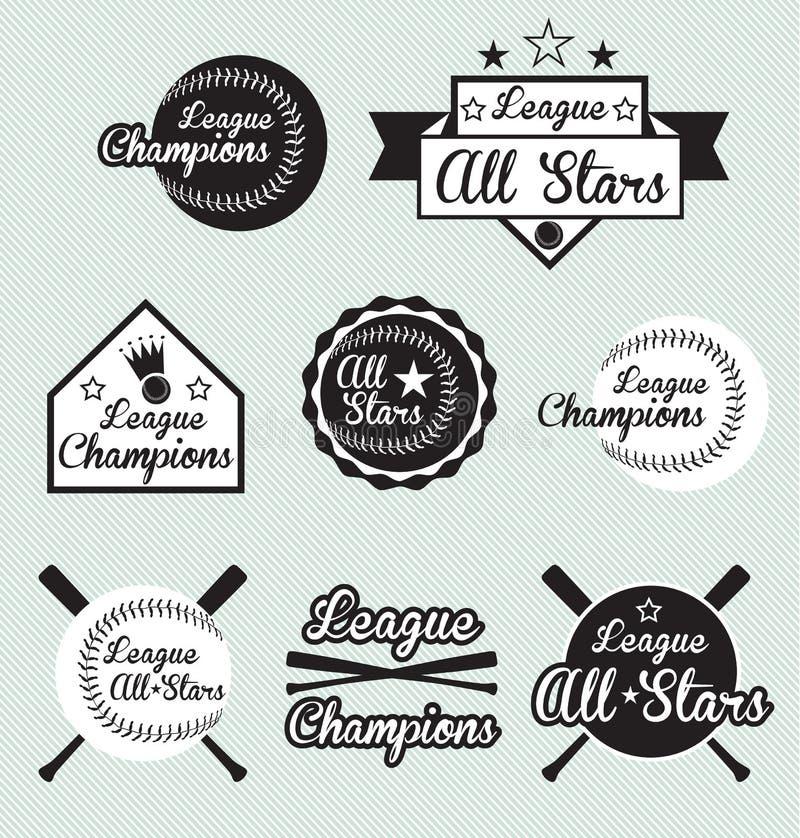Baseballa Etykietki Ligowy Mistrz i Grać główna rolę Etykietki ilustracji