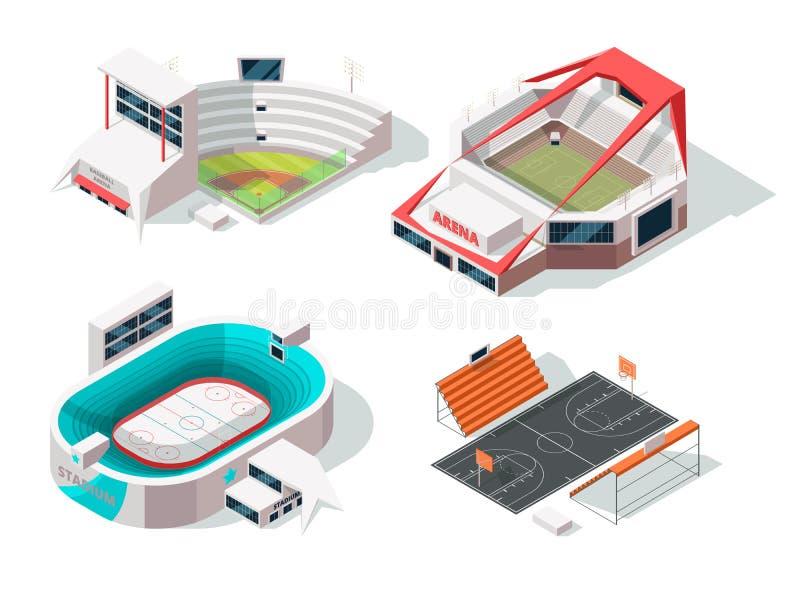 Baseballa, futbolu, hokeja i koszykówki stadia zewnętrzni, Budynki w isometric stylu ilustracja wektor