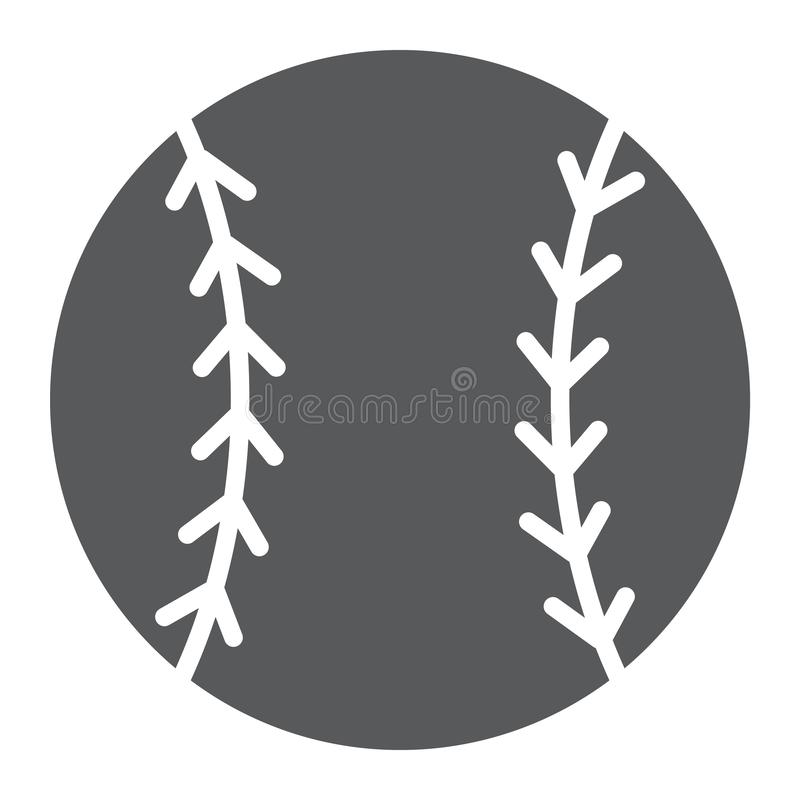 Baseballa glifu balowa ikona, gra i sport, piłka ilustracji