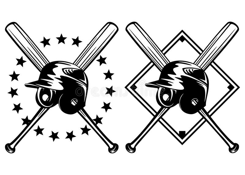 Baseballa hełm i krzyżujący nietoperze ilustracja wektor