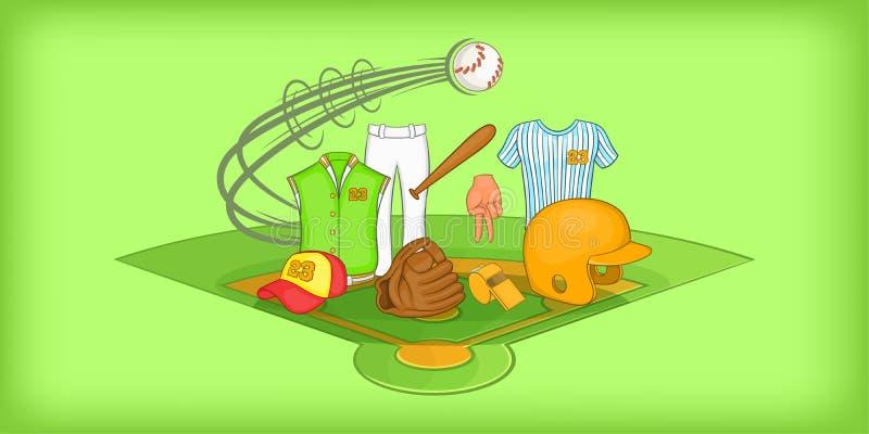 Baseballa horyzontalny sztandar, kreskówka styl ilustracja wektor
