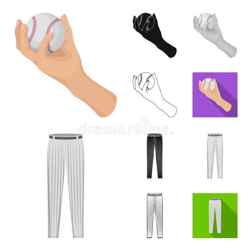 Baseballa i atrybutów kreskówka, czerń, mieszkanie, monochrom, kontur ikony w ustalonej kolekci dla projekta Gracz baseballa i ilustracji