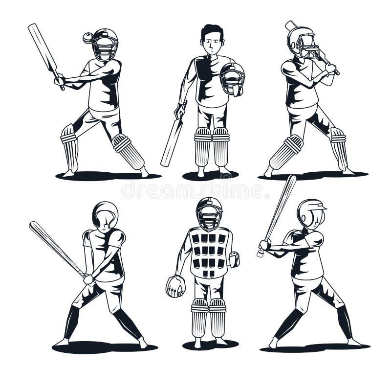 Baseballa i krykieta gracz ilustracja wektor