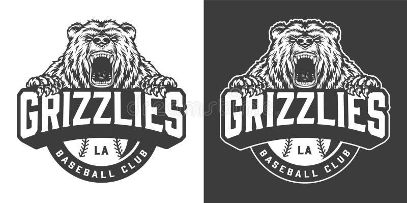 Baseballa klubu maskotki okrutnie niedźwiadkowy logo royalty ilustracja