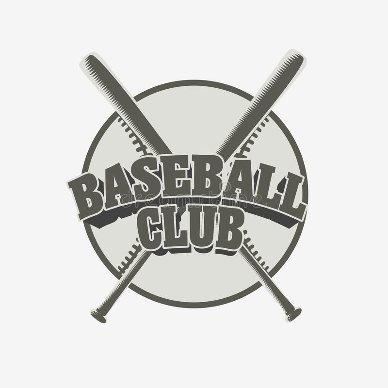 Baseballa klubu odznaka Wektorowa sport drużyny tożsamość z piłką i dwa kijami bejsbolowymi ilustracja wektor