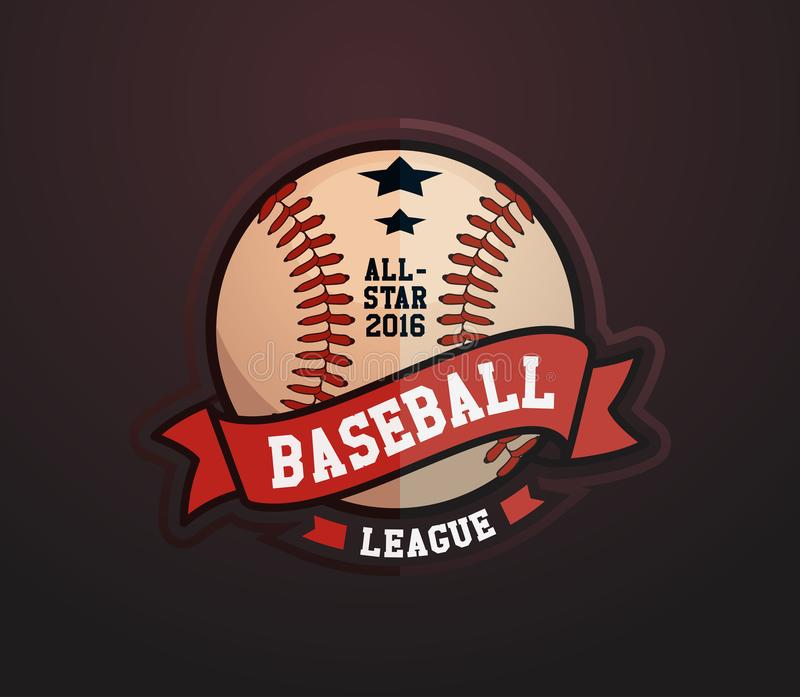 Baseballa liga odznaka, sporta loga szablonu projekt ilustracja wektor