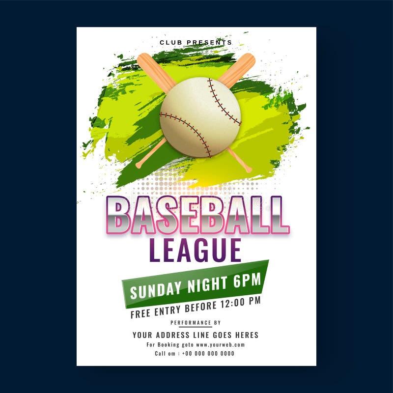 Baseballa liga ulotki lub plakata projekt z, ilustracji