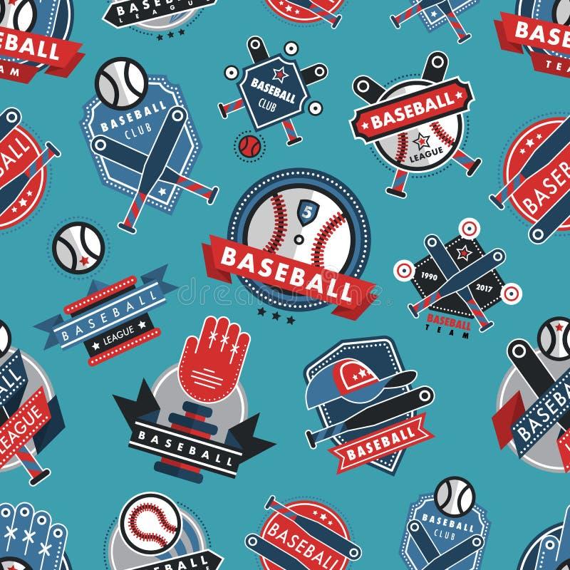 Baseballa loga odznaki tła sporta klubu drużyny bezszwowy deseniowy wektor royalty ilustracja