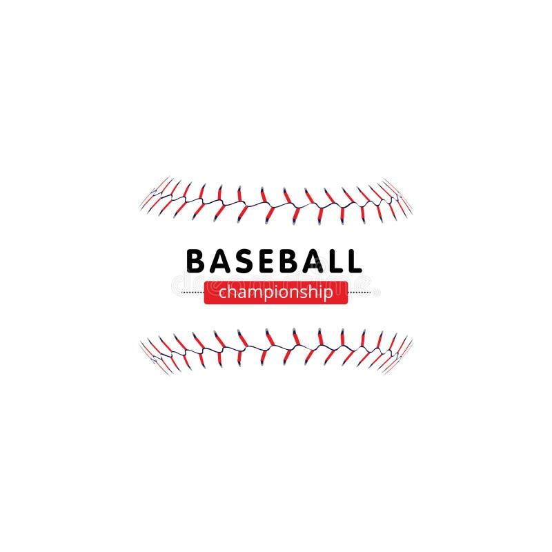 Baseballa mistrzostwa sztandar - odosobnione softballa szwu koronki bez piłki i teksta szablonu ilustracja wektor