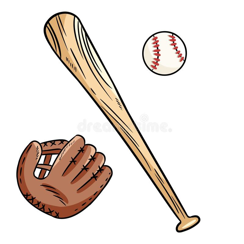 Baseballa piłki, nakrętki i nietoperza ręki rysujący doodles ustawiający, ilustracja wektor