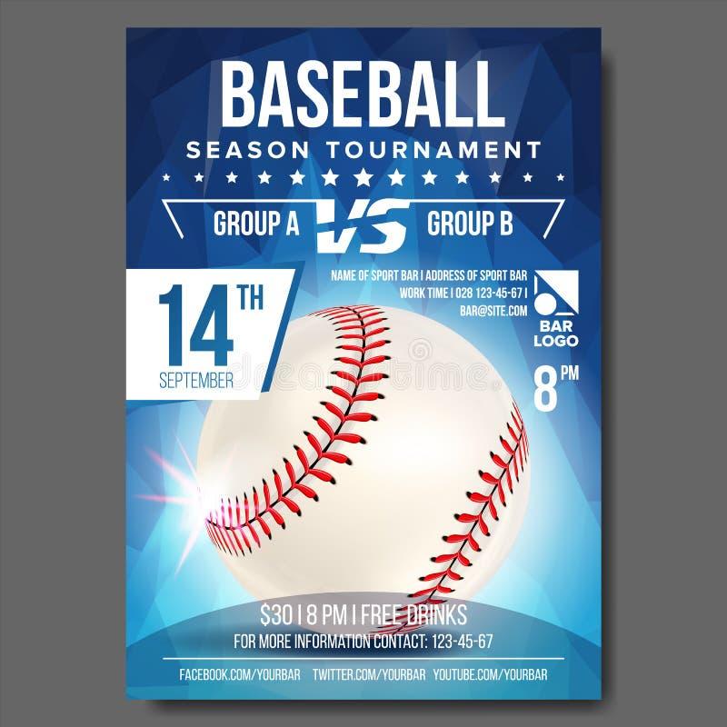 Baseballa plakata wektor Sztandar reklama Wydarzenia Sportowego zawiadomienie Zawiadomienie, gra, Ligowy projekt mistrzostwo ilustracji