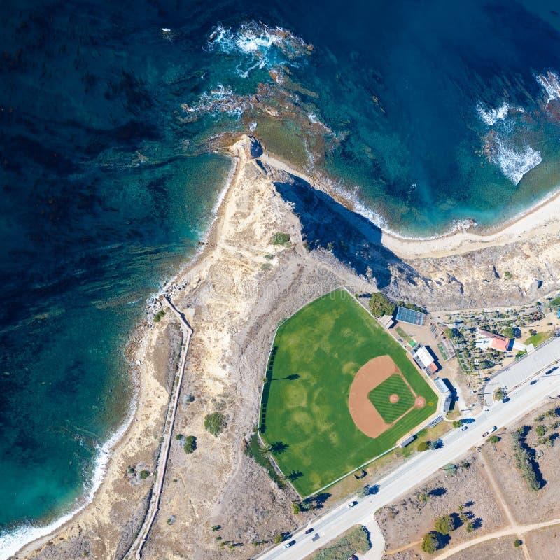 Baseballa pole oceanem w Palos Verdes CA obraz stock