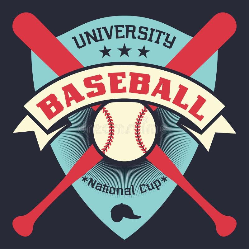 Baseballa rocznika plakat z osłoną, gwiazdy, krzyżował nietoperze i piłkę royalty ilustracja