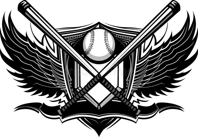Baseballa Softball Uderza Ozdobną Grafikę ilustracji
