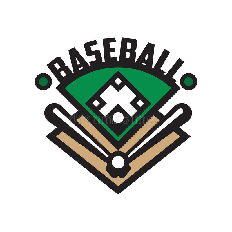 Baseballa sporta loga szablon, projekta element dla, odznaka, sztandar, emblemat, etykietka, insygni wektorowa ilustracja na biel royalty ilustracja