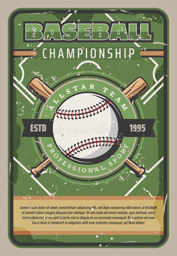 Baseballa sporta mistrzostwo, retro wektor ilustracja wektor