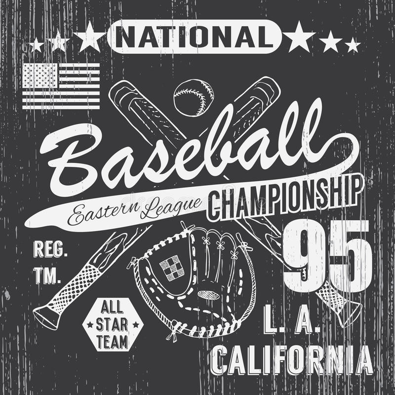 Baseballa sporta typografia, Wschodni liga los Angeles, nakreślenie krzyżować baseballa batsand koszulki druku projekta rękawiczk ilustracji