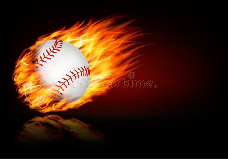 Baseballa tło z płomienną piłką royalty ilustracja