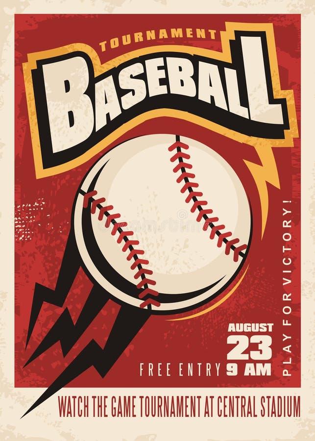 Baseballa turnieju retro plakatowy projekt ilustracji