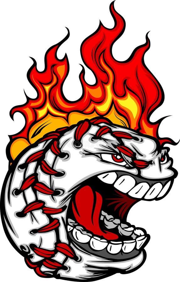 baseballa twarzy płomienny włosiany wizerunek ilustracji