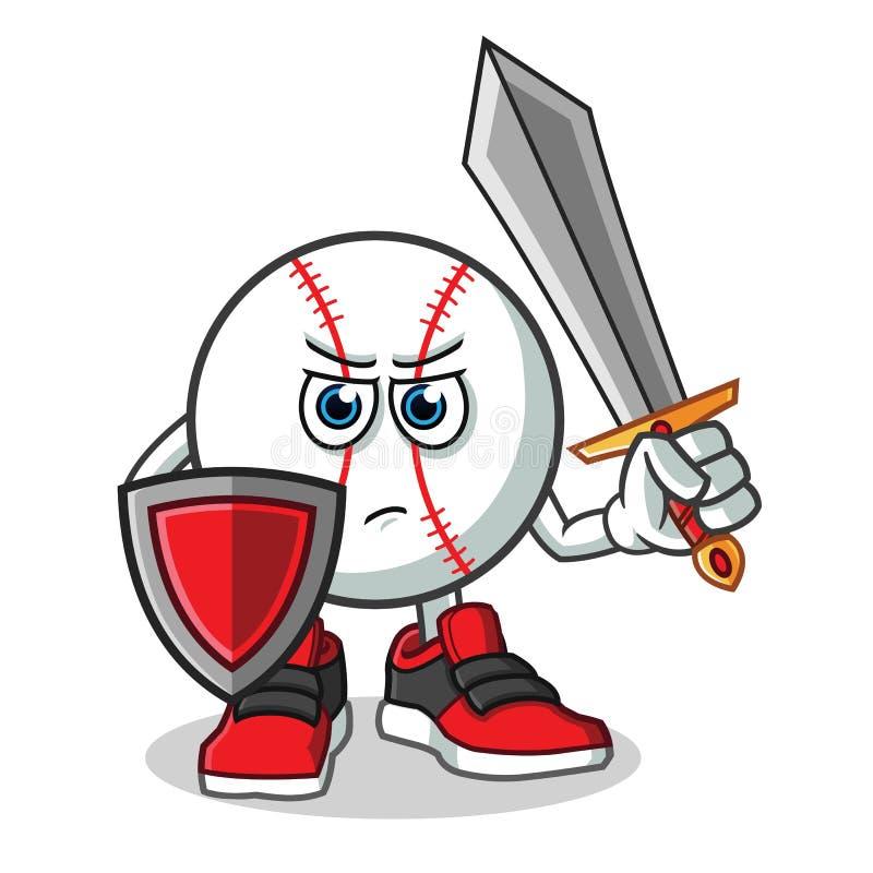 Baseballa warior mienia osłony i kordzika maskotki kreskówki wektorowa ilustracja royalty ilustracja