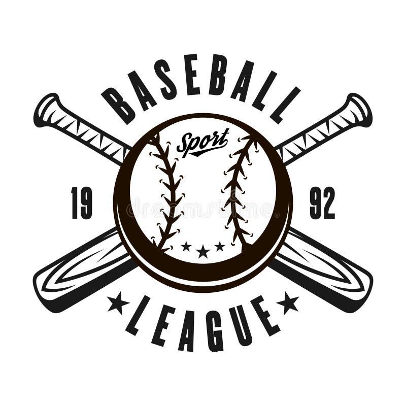 Baseballa wektorowy emblemat z piłką, dwa krzyżującego nietoperza ilustracja wektor