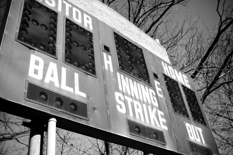 Baseballanzeigetafel stockbild