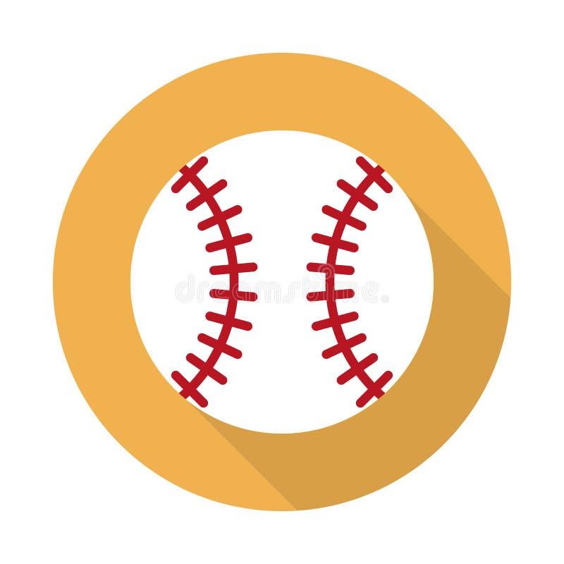 Baseballbollsymbol Illustration för vektor för plan designstil modern Plan lång skuggasymbol Beståndsdelar i plan design royaltyfri illustrationer