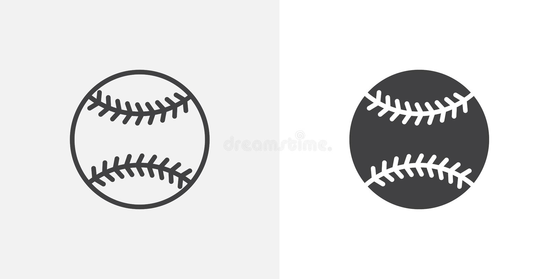 Baseballbollsymbol royaltyfri illustrationer