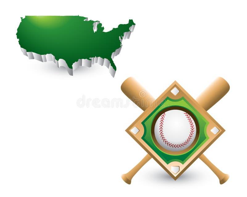 Baseballdiamant und -hiebe unter Staat-Ikone lizenzfreie abbildung