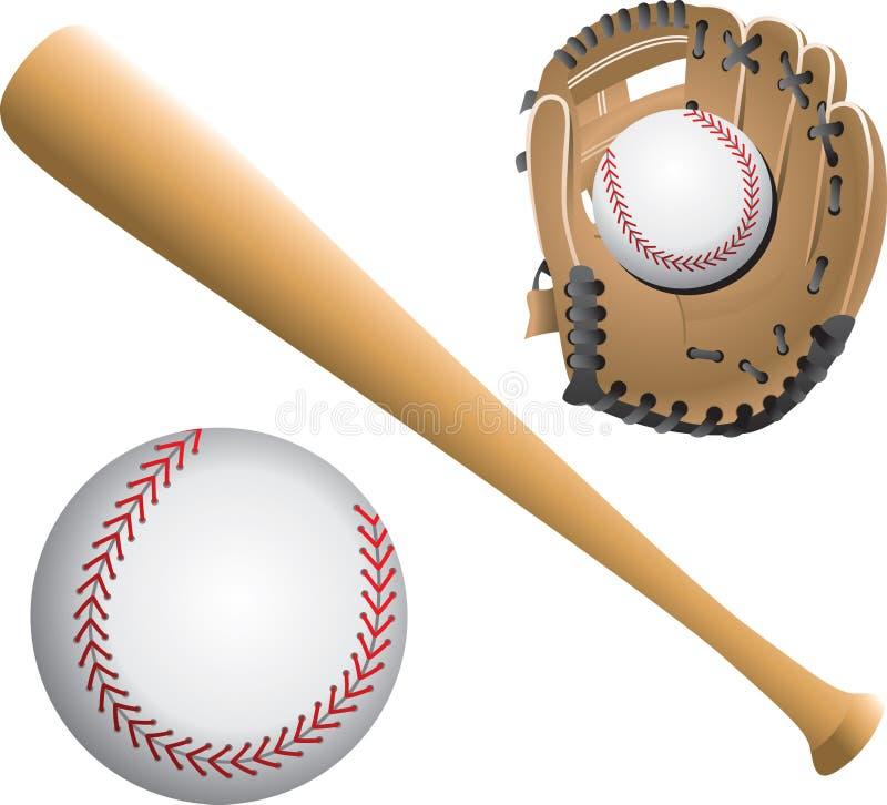 Baseballdiamanten, Kugeln und Hiebe stock abbildung