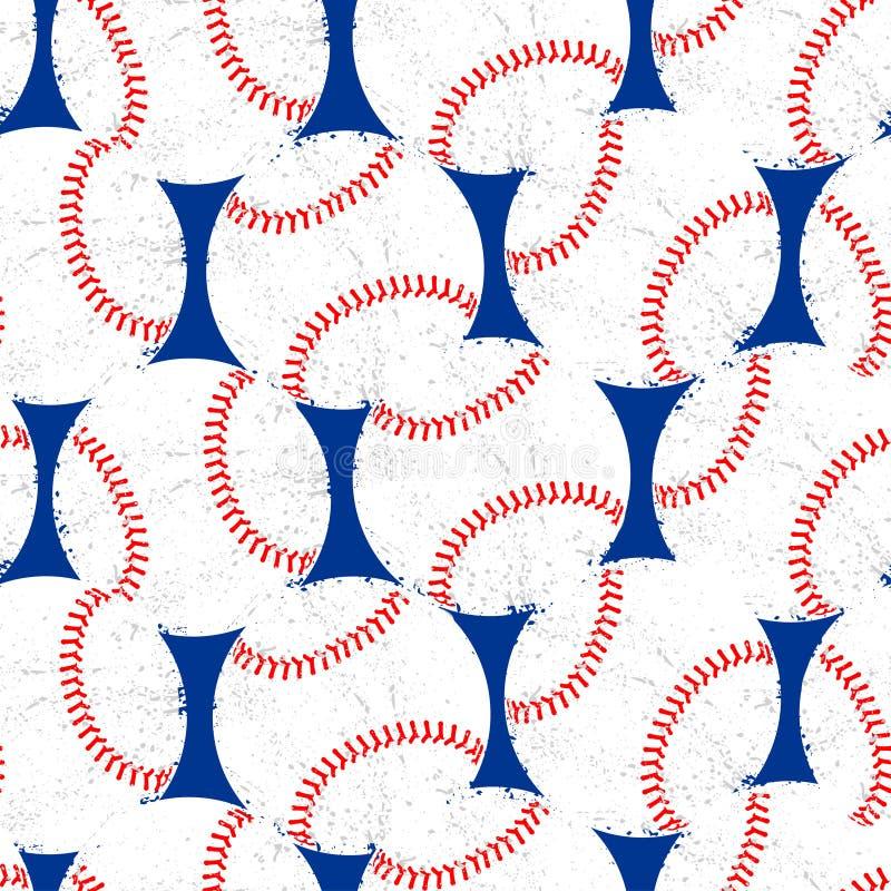 Baseballe z zakłopotanej tekstury bezszwowym wzorem ilustracji